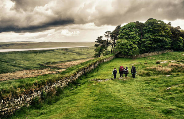 Roman Wall Photograph - Hiking Hadrians Wall by Richlegg