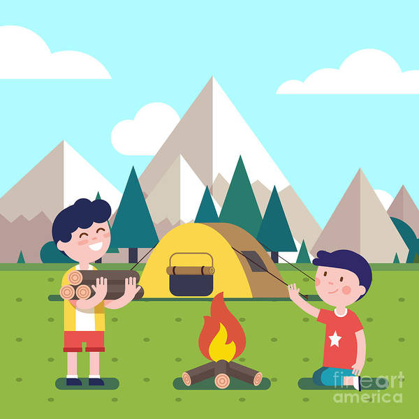 Camp Wall Art - Digital Art - Hiking Kids At The Campfire Near Their by Iconic Bestiary