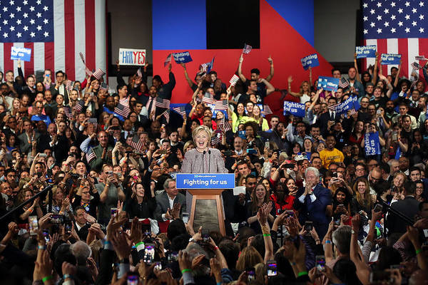 Democracy Photograph - Hillary Clinton Holds New York Primary by Spencer Platt