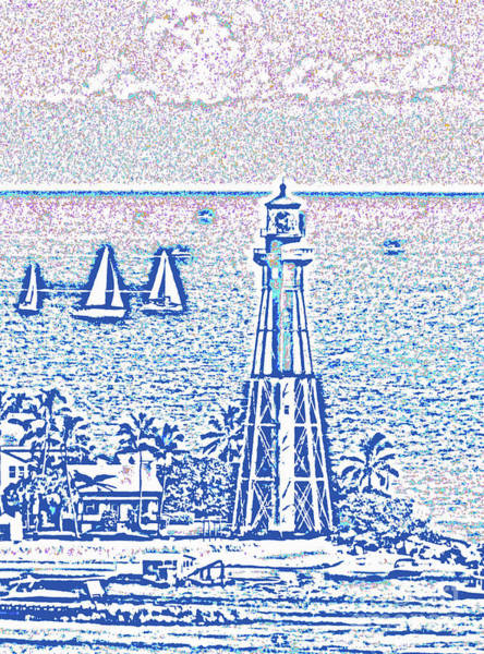 Digital Art - Hillsboro Lighthouse Line Photo 1001 by Corinne Carroll