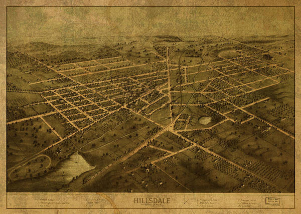 Wall Art - Mixed Media - Hillsdale Michigan Vintage City Street Map 1866 by Design Turnpike
