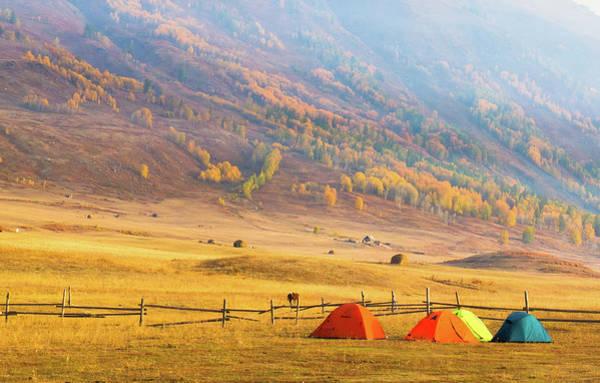 Camping Photograph - Hillside Camping In Hemu, Xinjiang China by Feng Wei Photography