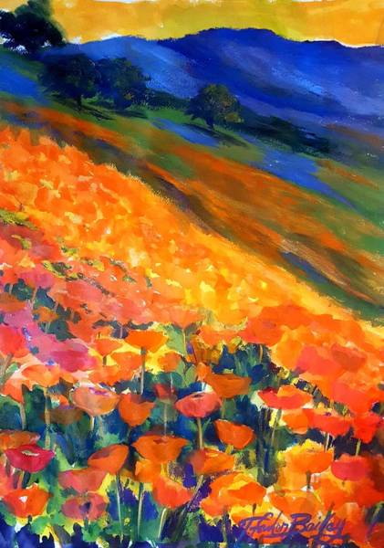 Mustard Field Painting - Hillside Poppy Burst by Therese Fowler-Bailey