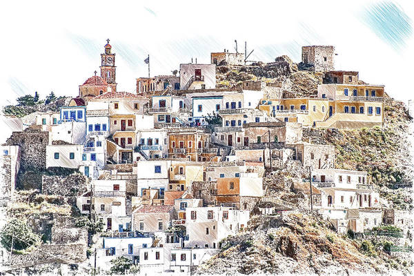 Drawing - Hillside Village On Karpathos Island -dwp3384386 by Dean Wittle