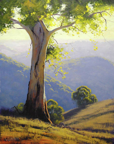 Old Tree Painting - Hilly Landscape by Graham Gercken