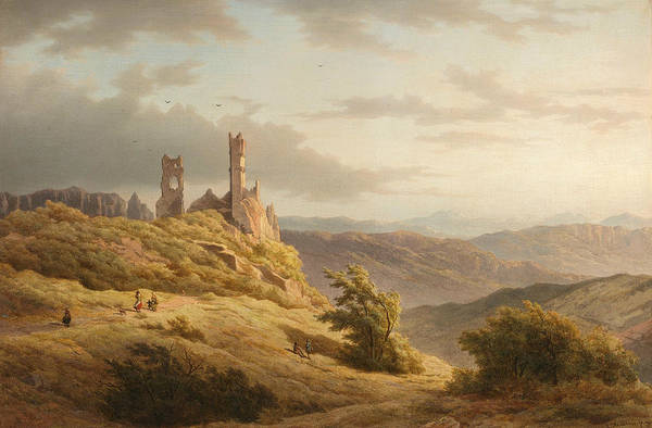 Painting - Hilly Landscape With A Ruin by Louwrens Hanedoes