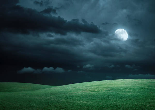 Manipulation Photograph - Hilly Meadow At Night With Full Moon by Spooh