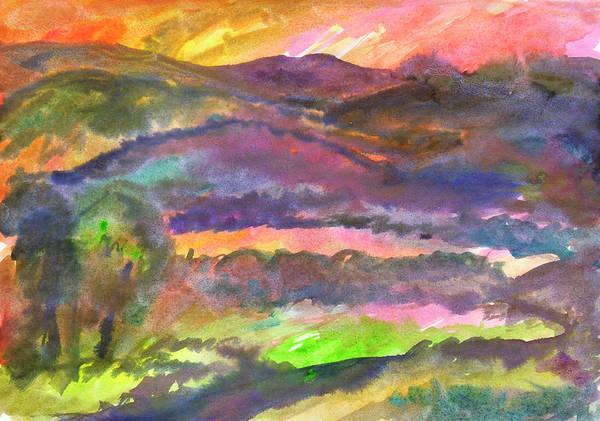 Painting - Hilly Landscape At Sunset by Irina Dobrotsvet