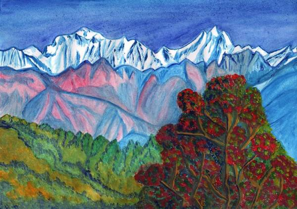 Painting - Blooming Tree On A Background Of Snowy Mountains by Irina Dobrotsvet