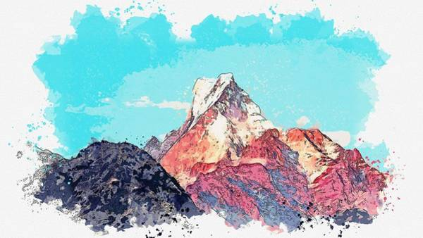 Wall Art - Painting - Himalayas -  Watercolor By Adam Asar by Adam Asar