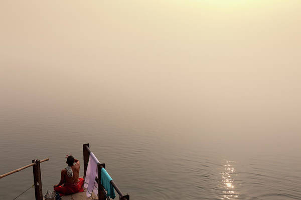 Hindu Photograph - Hindu Brahmin Meditating In The Fog by Marji Lang