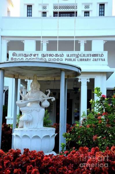 Photograph - Hindu Goddess Saraswati At Entrance Of Jaffna Public Library Landmark Building For Tamils Sri Lanka by Imran Ahmed