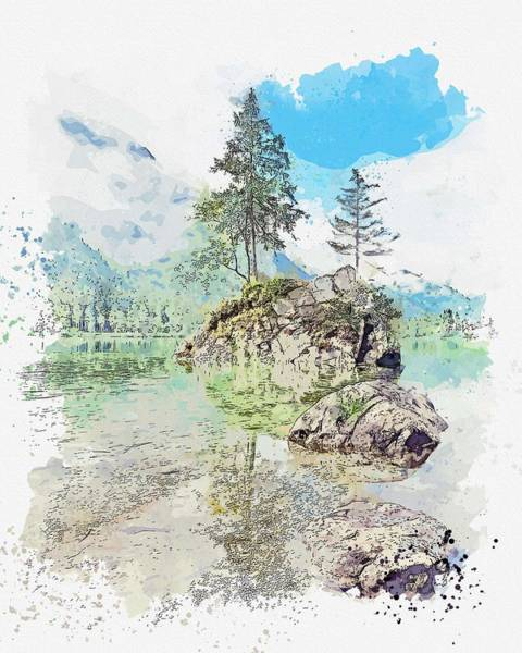 Painting - Hintersee, Ramsau Bei Berchtesgaden, Germany -  Watercolor By Adam Asar by Adam Asar
