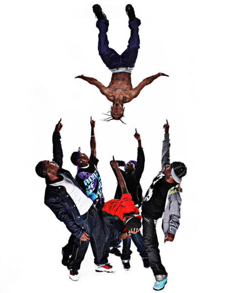 Hip Photograph - Hip Hop Dancer Performing Stunt With by Hans Neleman