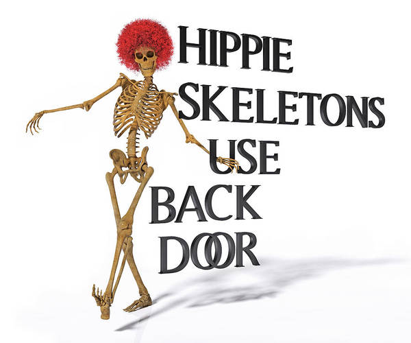 Hippy Digital Art - Hippie Skeletons Use Back Door by Betsy Knapp