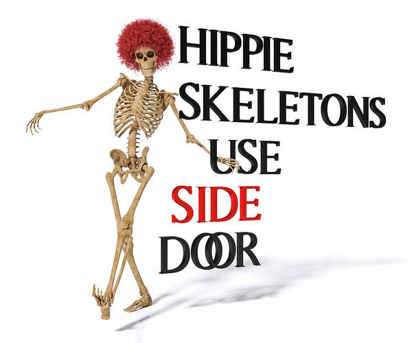 Wall Art - Digital Art - Hippie Skeletons Use Side Door by Betsy Knapp