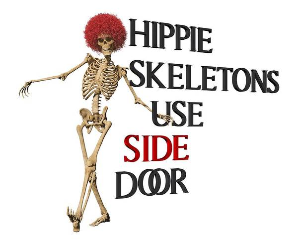 Wall Art - Digital Art - Hippie Skeletons Use Side Door P N G by Betsy Knapp