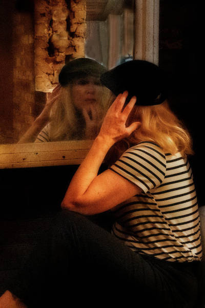 Photograph - Hippie Woman Wearing Beret Looking In Mirror by Dan Friend