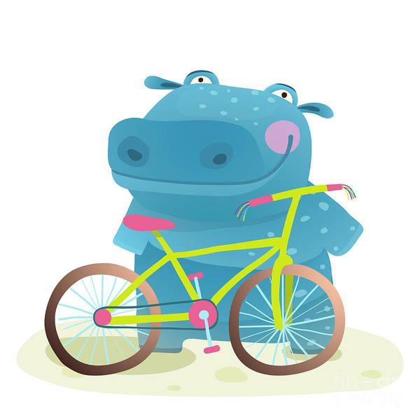 Wall Art - Digital Art - Hippo With Bicycle. Happy Fun Wild by Popmarleo
