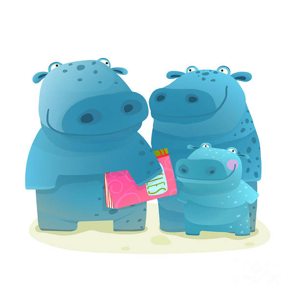 Daughter Digital Art - Hippopotamus Family With Book. Mother by Popmarleo