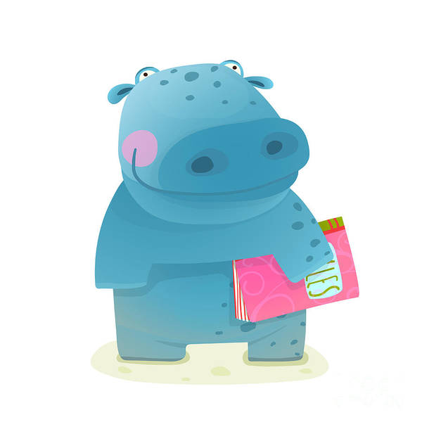 Daughter Digital Art - Hippopotamus Kid With Book Study by Popmarleo