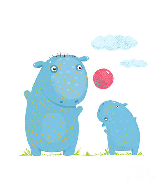 Friendly Wall Art - Digital Art - Hippopotamus Parent Playing Ball With A by Popmarleo