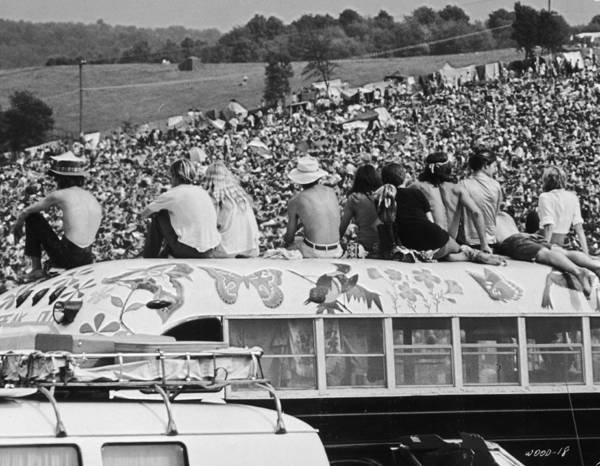Crowd Photograph - Hippy Bus by Archive Photos
