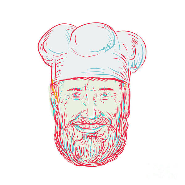 Wall Art - Digital Art - Hipster Baker Cook Chef Head by Aloysius Patrimonio