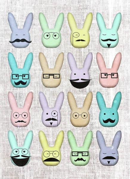 Wall Art - Digital Art - Hipster Bunnies by Sd Graphics Studio