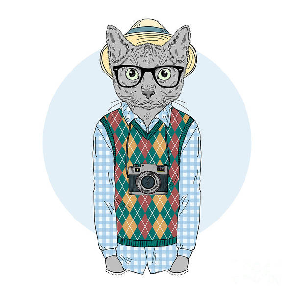 Camera Digital Art - Hipster Cat Boy With Photo Camera by Olga angelloz