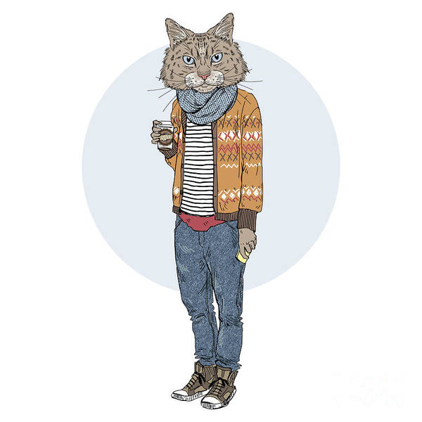 Wall Art - Digital Art - Hipster Cat With Coffee, Furry Art by Olga angelloz