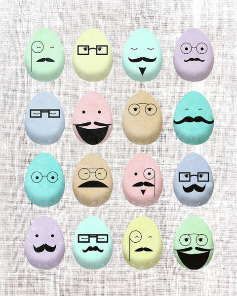 Wall Art - Digital Art - Hipster Eggs With Mustaches by Sd Graphics Studio