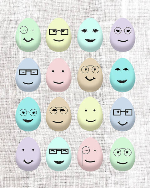 Wall Art - Digital Art - Hipster Happy Eggs by Sd Graphics Studio