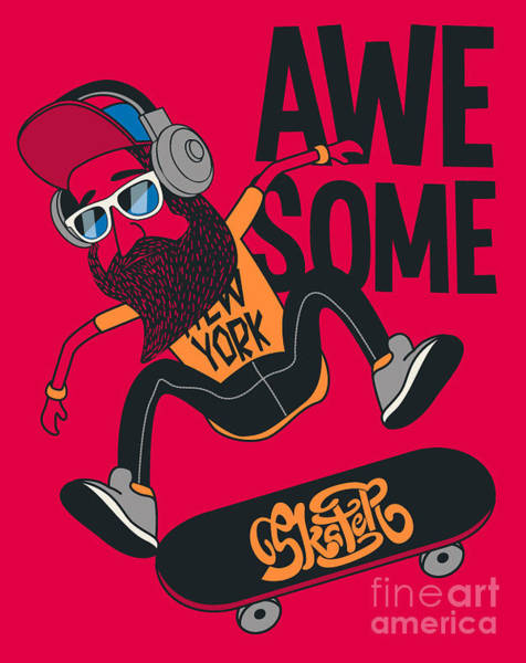 Wall Art - Digital Art - Hipster, Skater Vector Design by Braingraph