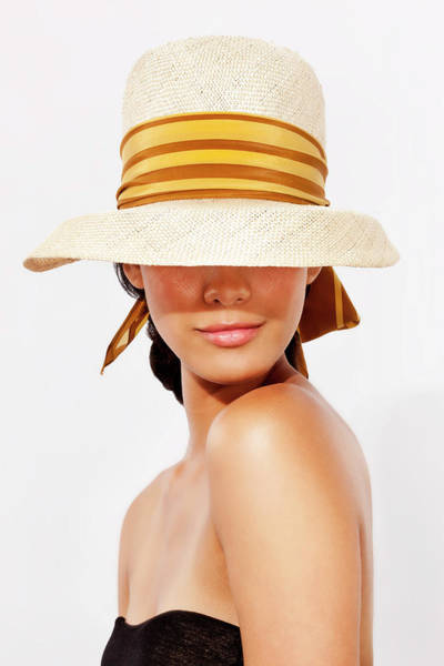 Sun Hat Photograph - Hispanic Woman Wearing Hat To Protect by Tooga