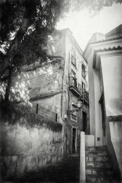 Wall Art - Photograph - Historic Alfama District Lisbon Portugal Black And White by Carol Japp