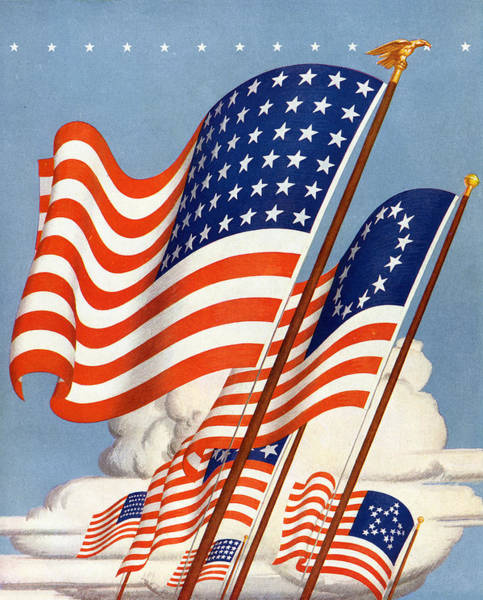 Archival Digital Art - Historic American Flags by Graphicaartis