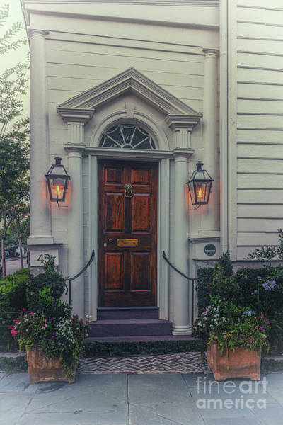 Photograph - Historic Charleston Home - Gas Lantern Entrance by Dale Powell
