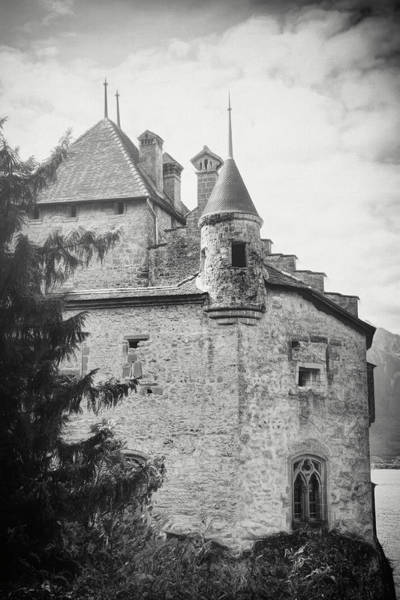 Schloss Wall Art - Photograph - Historic Chillon Castle Montreux Switzerland Black And White by Carol Japp