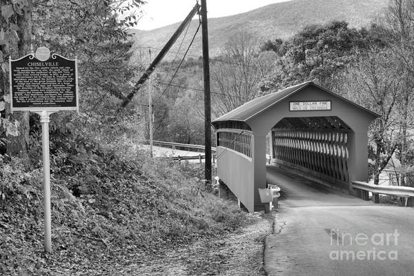 Photograph - Historic Chiselville Covered Bridge Black And White by Adam Jewell