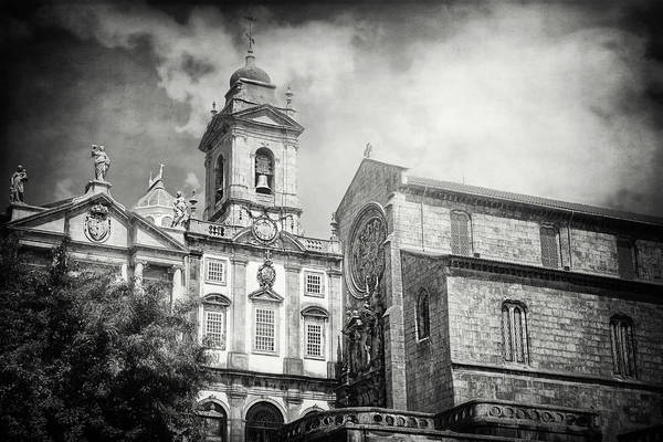Wall Art - Photograph - Historic Churches Of Porto Portugal Black And White by Carol Japp