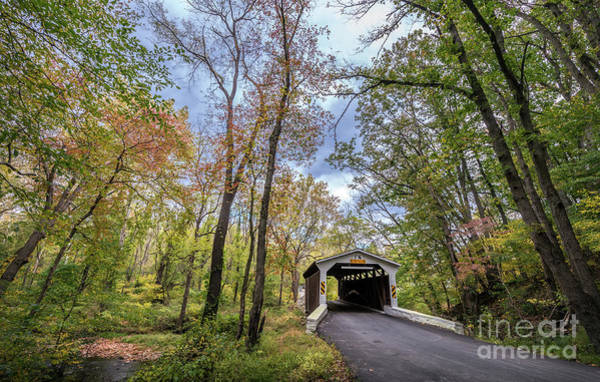 Photograph - Historic Covered Bridge In Rural Pennsylvania During Autumn by Patrick Wolf