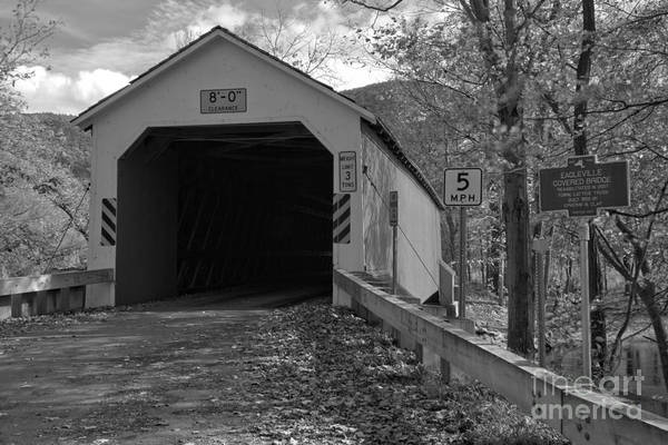 Photograph - Historic Eagleville Covered Bridge Black And White by Adam Jewell