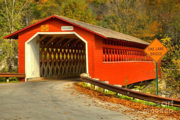 Photograph - Historic Henry Covered Bridge by Adam Jewell