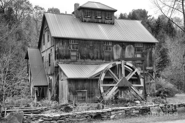 Photograph - Historic Jeffersonville Grist Mill Black And White by Adam Jewell
