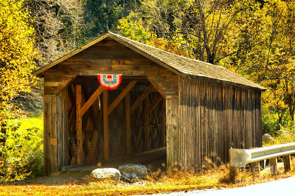 Photograph - Historic Mcdermott Covered Bridge by Adam Jewell