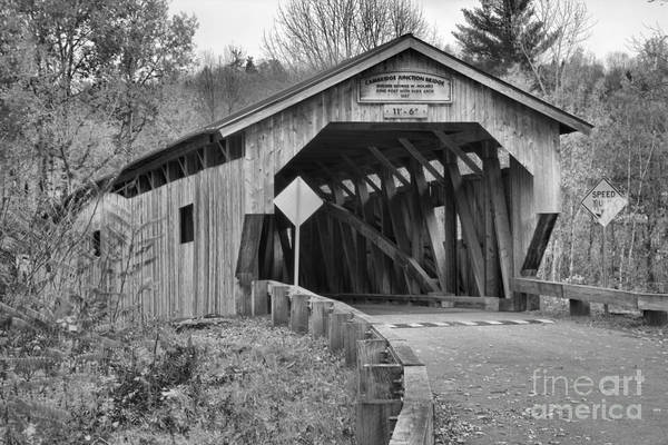 Photograph - Historic Poland Covered Bridge Black And White by Adam Jewell