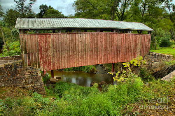 Photograph - Historic Red Covered Bridge by Adam Jewell