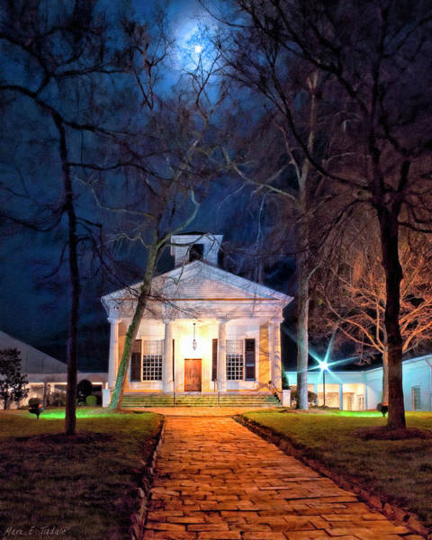 Photograph - Historic Roswell Presbyterian Church By Night by Mark Tisdale