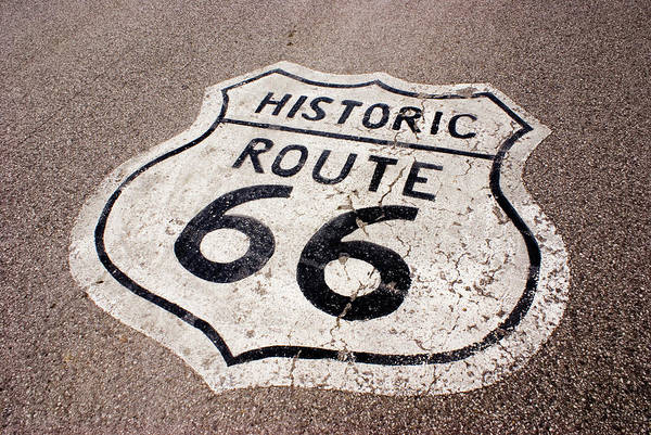 Damaged Photograph - Historic Route 66 Sign Painted On Road by Mark Williamson